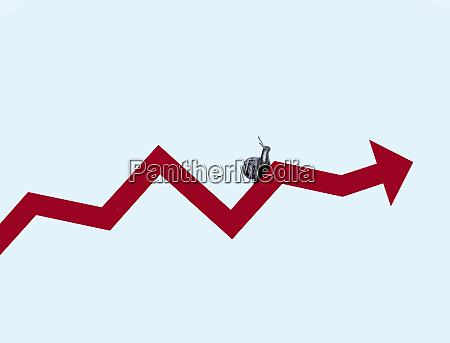 snail crawling along line graph arrow