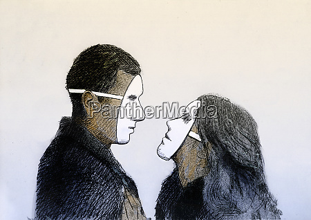 man and woman looking at each