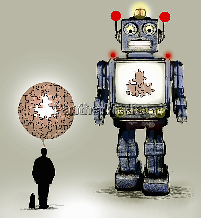 robot with missing pieces of jigsaw