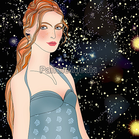 beautiful woman at night wearing pattern