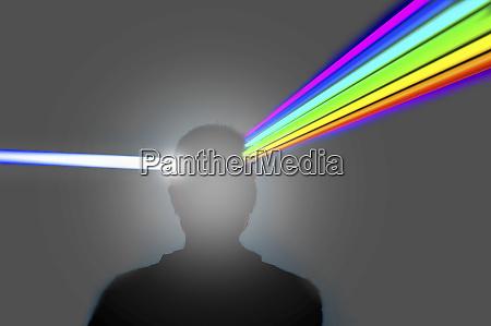 mans head as prism refracting beam