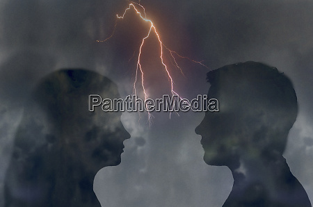 forked lightning between couple looking at