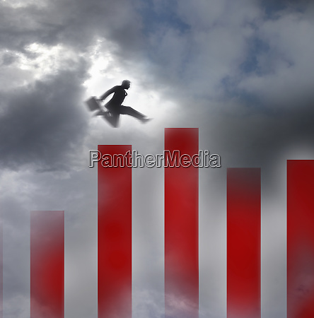 businessman jumping along bar chart