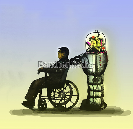 robot pushing elderly man in wheelchair