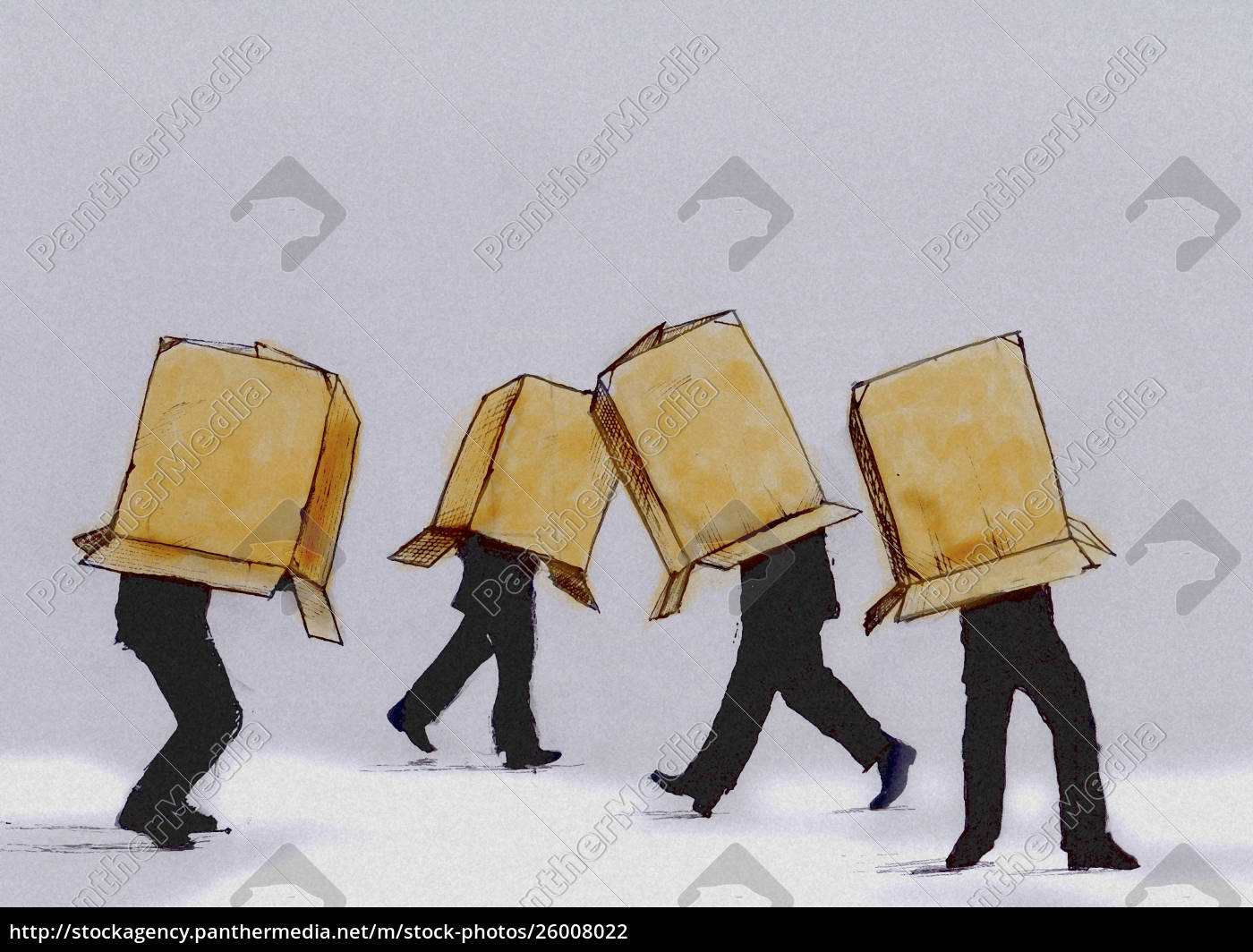 businessmen, walking, cardboard, box, covering, head - 26008022