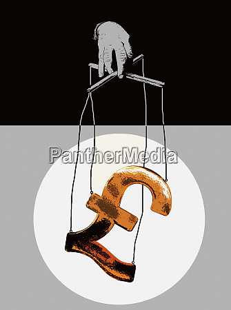 hand, manipulating, pound, symbol, puppet, on - 26008482