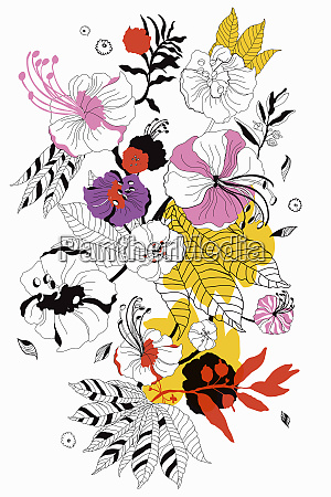 drawing of flowers and leaves