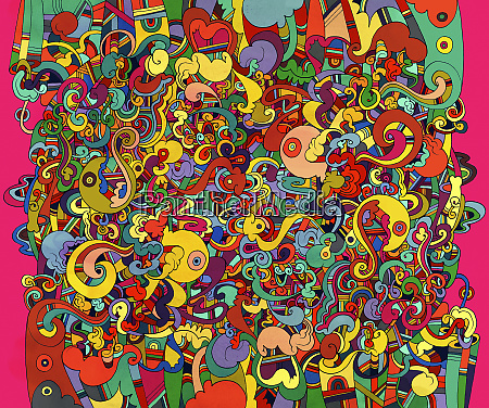 abstract bright color tangled squiggle pattern