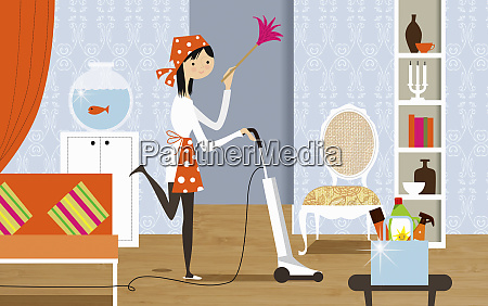 happy woman doing housework holding feather