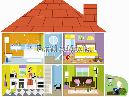 cross section of family house with