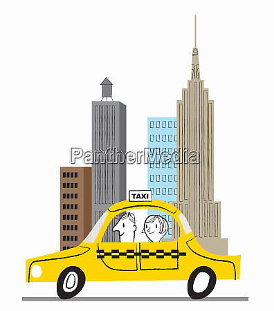 happy woman in yellow cab in