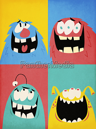 montage of four happy monsters
