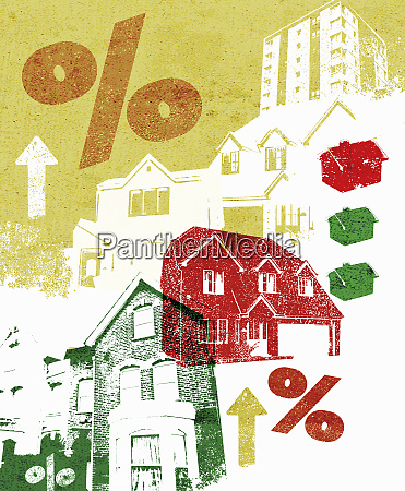 collage of houses and rising percent