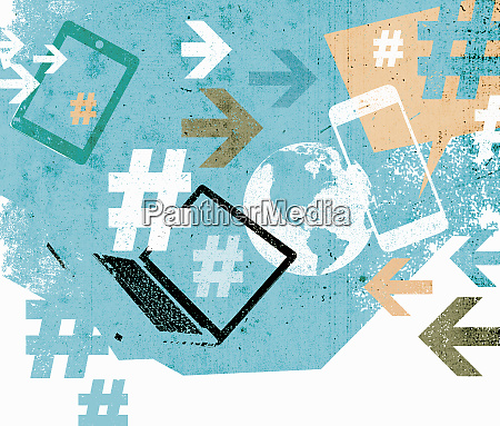 social media collage of mobile technology
