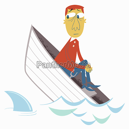 anxious man in sinking boat watching