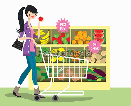 young woman shopping for bargain fruit