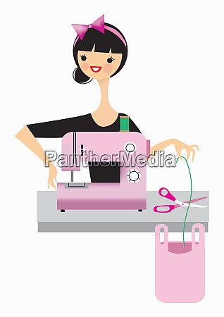 mujer con maquina de coser