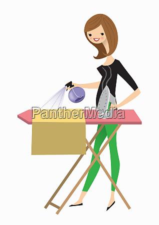 mujer haciendo el planchado