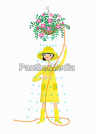 woman wearing rain hat raincoat and