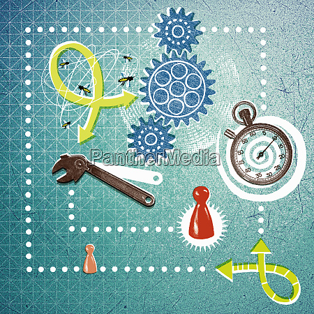 game pieces cogs spanner stopwatch and