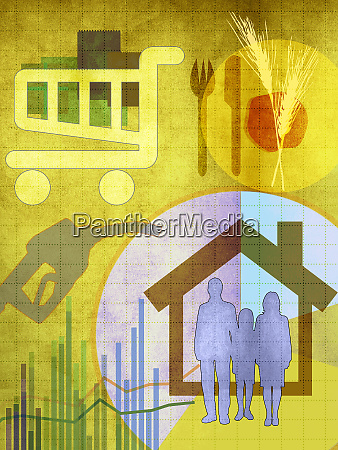 montage of expenses for family household