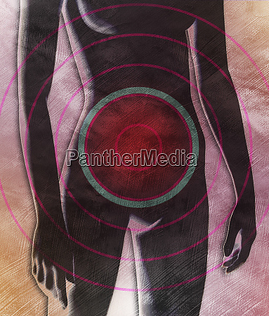 female body with target over abdomen