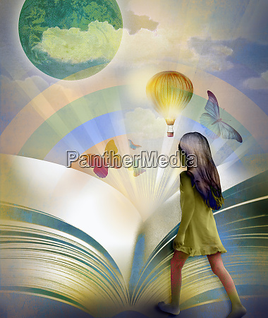 young girl entering colorful world inside