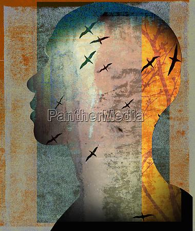 birds flying inside of mans head