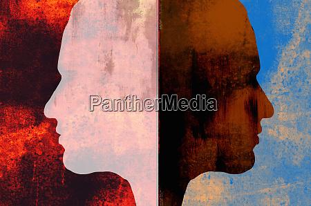 light and dark identical profiles back