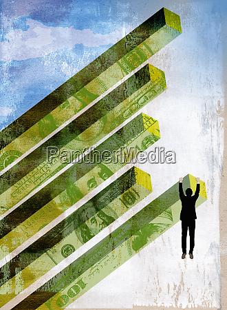 businessman dangling from tilted dollar bar