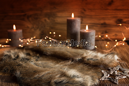 cozy christmas decoration with candles