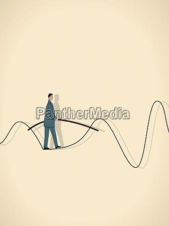 businessman walking on wavy tightrope