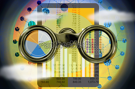 binoculars digital tablet finance data and