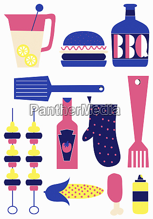 arrangement of barbecue food and cooking