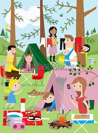 families having fun camping in woods