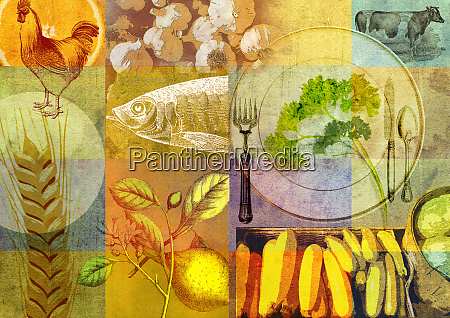 collage of healthy food and place