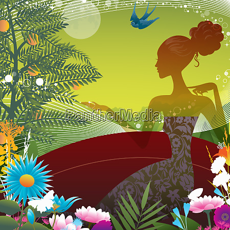 silhouette of woman surrounded by colorful