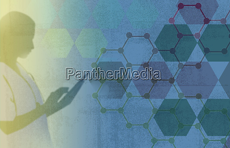 doctor using digital tablet with molecule