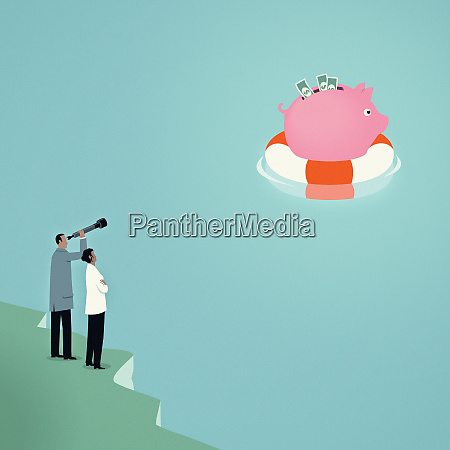 couple, with, telescope, watching, piggy, bank - 26010655