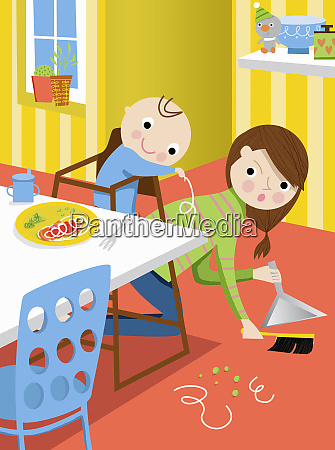 mother, cleaning, up, after, baby, throwing - 26010629