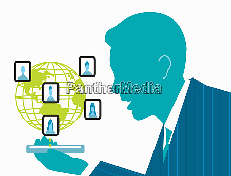 businessman networking with co workers on