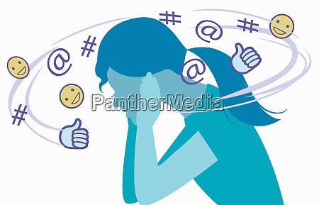 social media symbols forming noise around