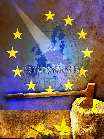 axe chopping european union flag stars