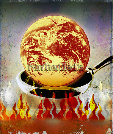 globe burning in pan over flames