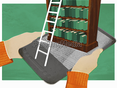 bookcase and ladder on top of