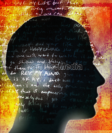 handwritten text over silhouette profile of