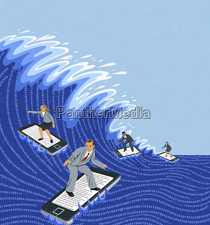 business people surfing computer data wave