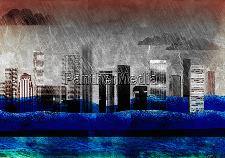 city skyscrapers drowning in thunderstorm and