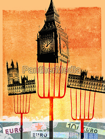 pitchforks holding houses of parliament london