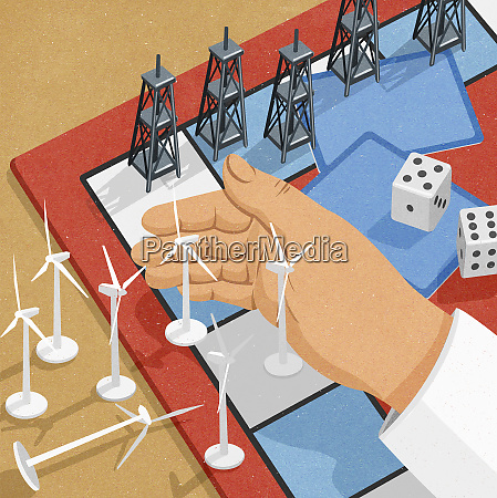 wind turbines losing to oil derricks